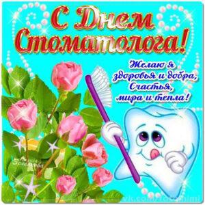 День Стоматолога открытки коллективу. Розы, зубки, с праздником стоматолог.